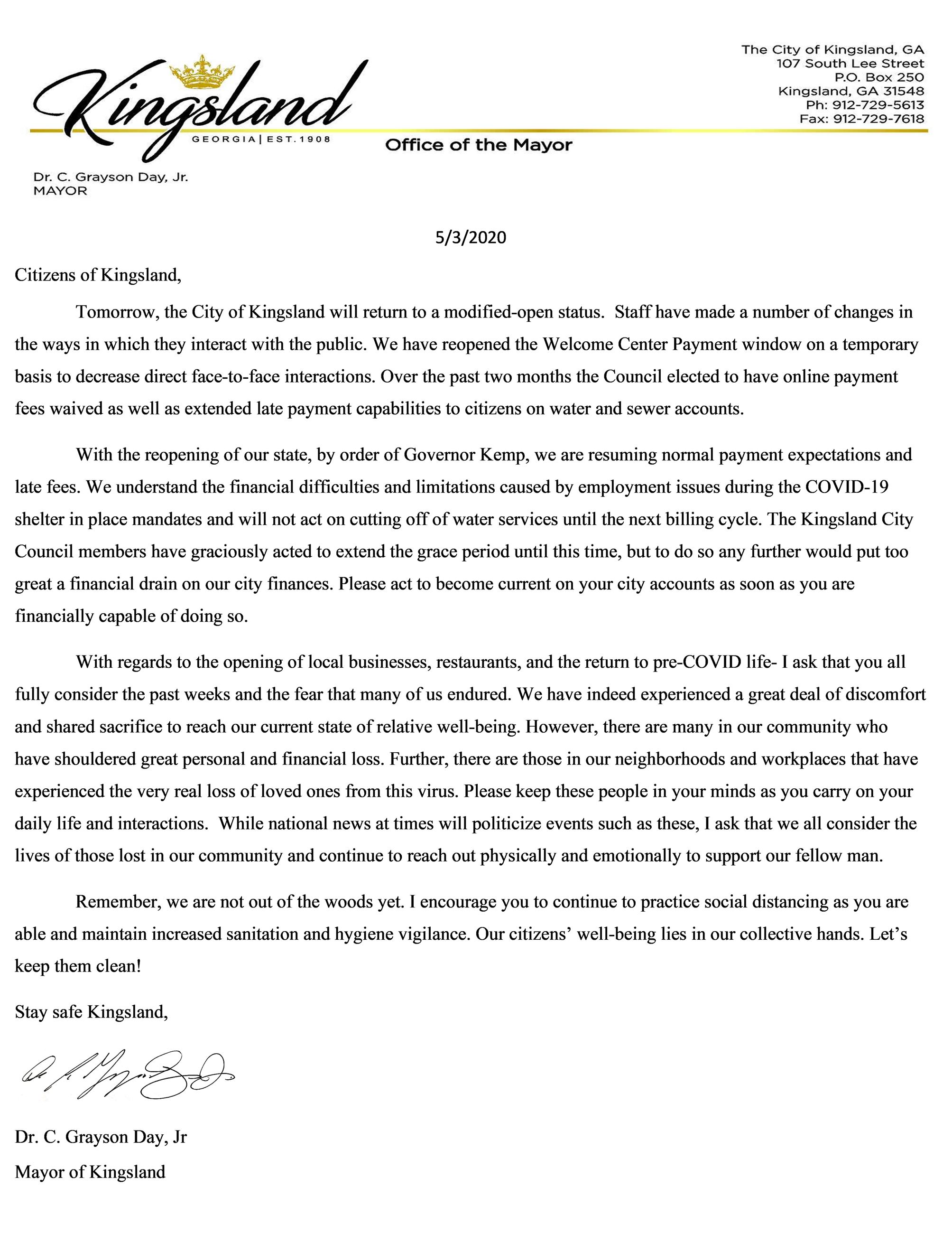 Message from the Mayor COVID RELEASE 5-3-2020