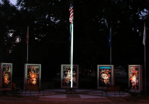Memorials by the flag
